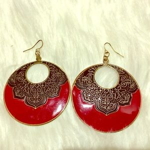 Boho Anthropologie Earrings Red Black Gold